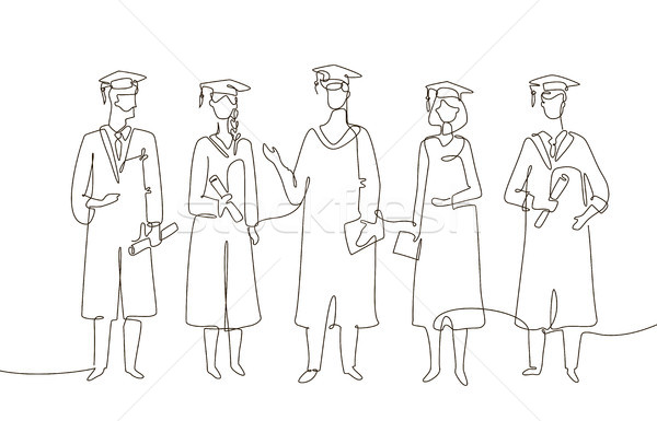 Stock photo: Graduating students - one line design style illustration