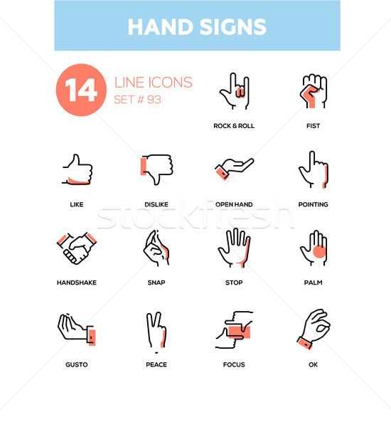 Hand signs - modern line design icons set Stock photo © Decorwithme