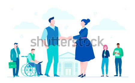 Stock photo: Business success - flat design style illustration