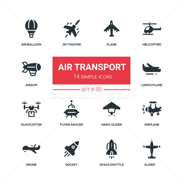 Air transport - flat design style icons set Stock photo © Decorwithme