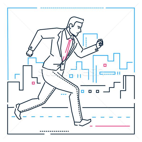 Stock photo: Businessman running - line design style illustration on white background