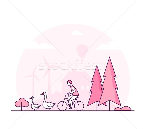 Eco lifestyle - thin line design style vector illustration Stock photo © Decorwithme
