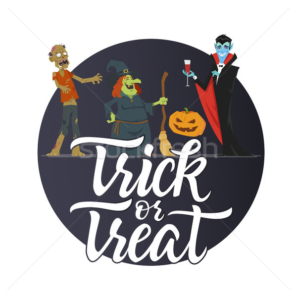 Trick or treat - modern colorful vector poster Stock photo © Decorwithme