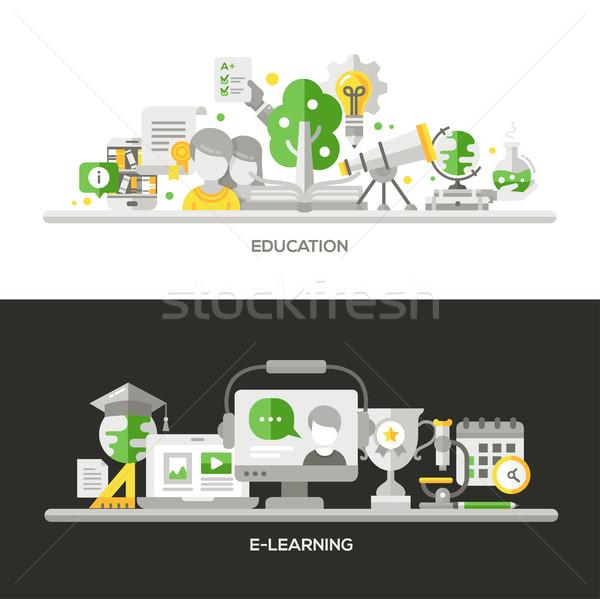 Online oktatás online oktatás kompozíciók bannerek szett Stock fotó © Decorwithme