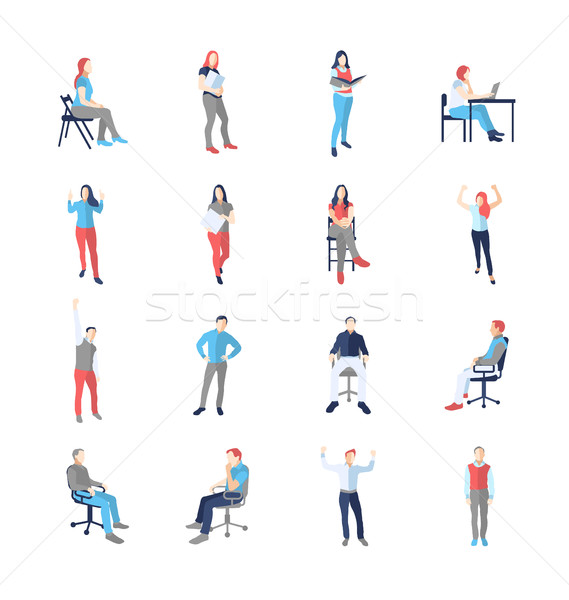 People, male, female, in different casual common poses Stock photo © Decorwithme