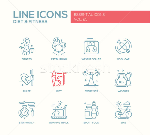 Diet and fitness - line design icons set Stock photo © Decorwithme