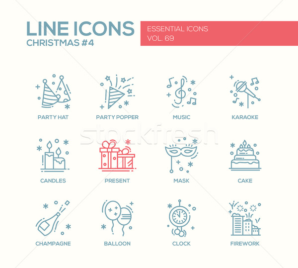 Christmas and New Year - line design icons set Stock photo © Decorwithme