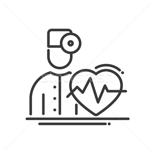 Doctor Cardiologist - vector modern line design illustrative icon Stock photo © Decorwithme