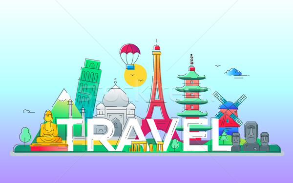 Stock photo: Travel - vector line travel illustration