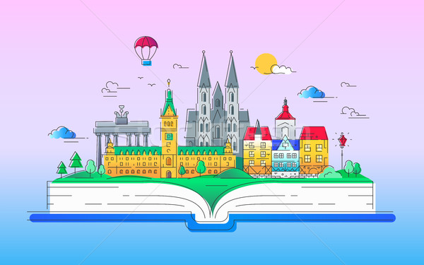 Europe - vector line travel illustration Stock photo © Decorwithme