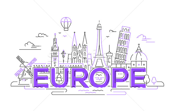 Europe - flat design composition with landmarks Stock photo © Decorwithme