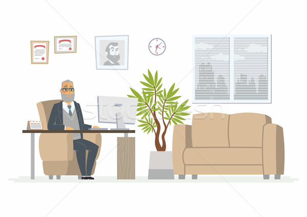 Kantoor hoofd moderne vector cartoon business Stockfoto © Decorwithme