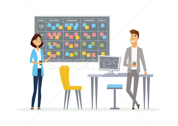 Planning system - modern vector cartoon business characters illustration Stock photo © Decorwithme