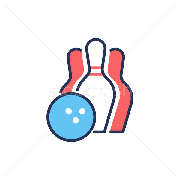 Bowling - modern vector line design single icon. Stock photo © Decorwithme