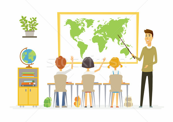 Geography lesson at school - modern cartoon people characters illustration Stock photo © Decorwithme
