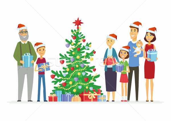 Boldog család karácsony rajzolt emberek betűk illusztráció fehér Stock fotó © Decorwithme