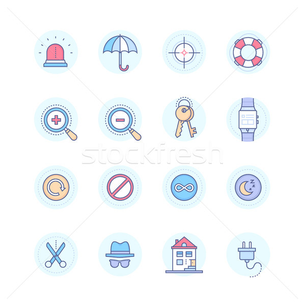 Security and data protection - modern line design style icons set Stock photo © Decorwithme