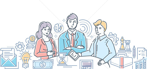 Stock photo: Business meeting - modern line design style illustration