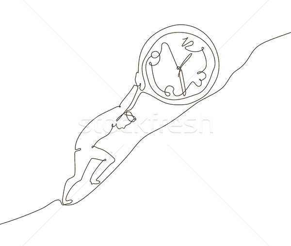 Time management - one line design style illustration Stock photo © Decorwithme