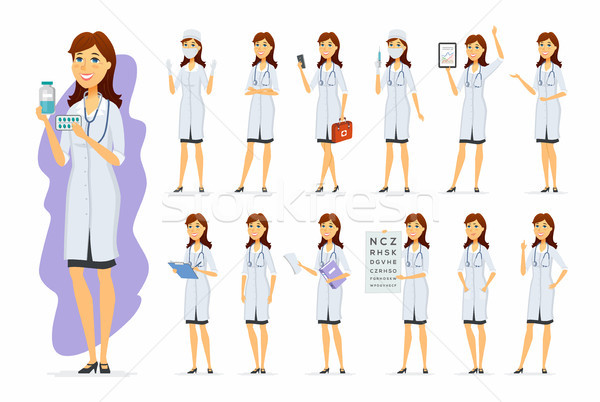 Female doctor - vector cartoon people character set Stock photo © Decorwithme