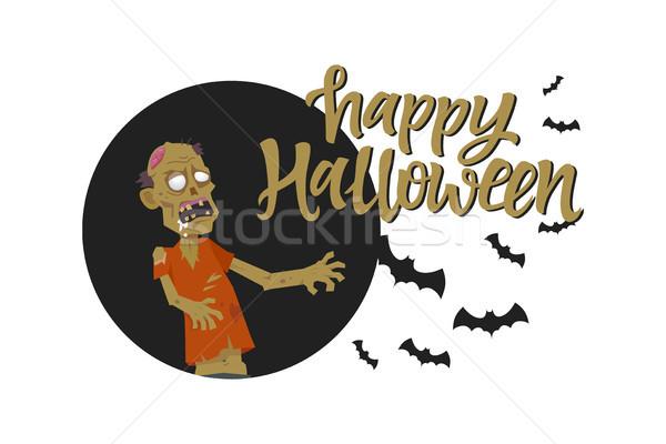 Happy Halloween poster - modern cartoon character illustration Stock photo © Decorwithme