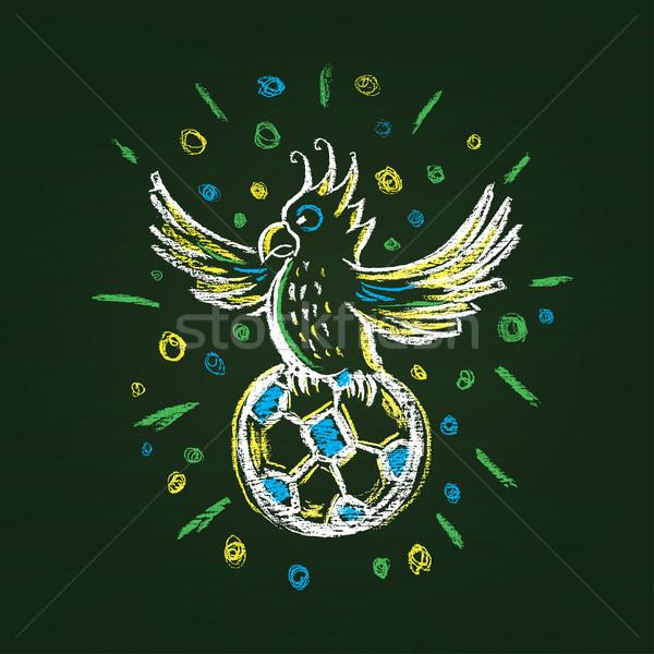 иллюстрация футбольным мячом футбола фон лет птица Сток-фото © Decorwithme