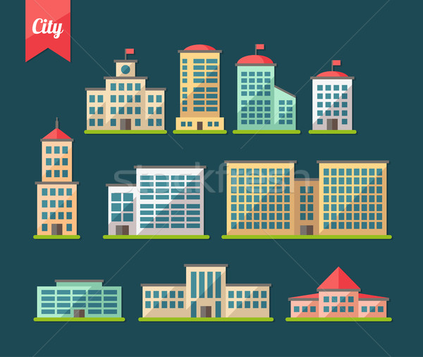Set of flat design buildings icons Stock photo © Decorwithme