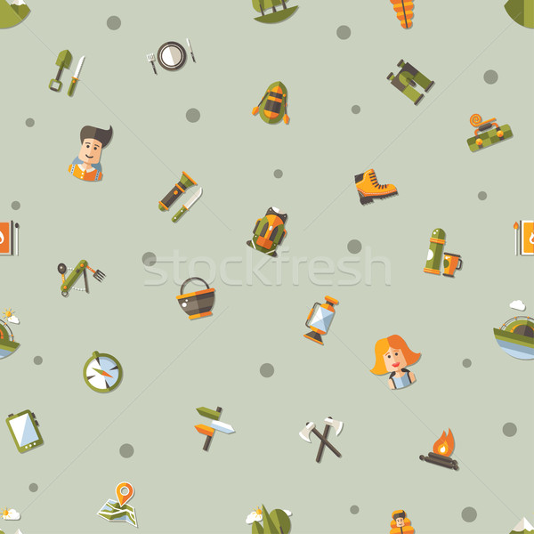 Modern flat design pattern of camping and hiking info graphic el Stock photo © Decorwithme