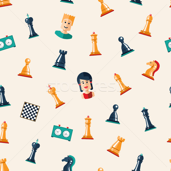 Seamless pattern with flat design chess and players icons  Stock photo © Decorwithme