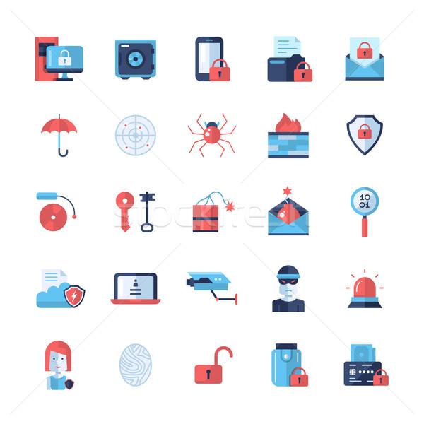 Bezpieczeństwa ochrony nowoczesne projektu ikona piktogramy Zdjęcia stock © Decorwithme