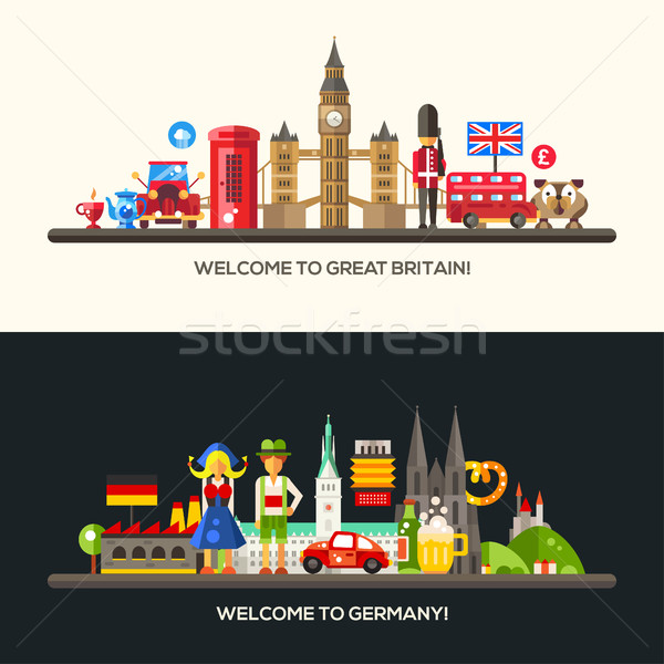 Germany, Great Britain travel banners set with famous French symbols  Stock photo © Decorwithme
