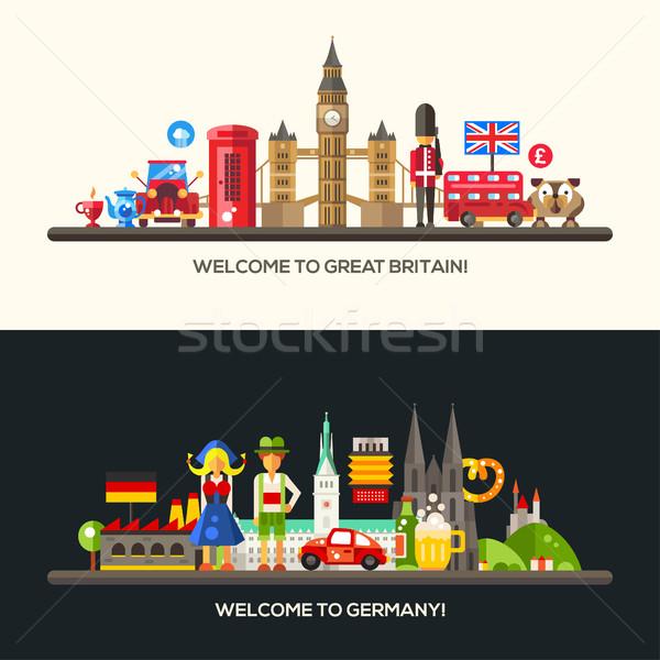 Deutschland Großbritannien Reise Banner Set berühmt Stock foto © Decorwithme