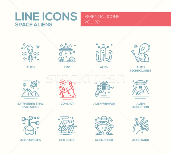 Space Aliens - line design icons set Stock photo © Decorwithme