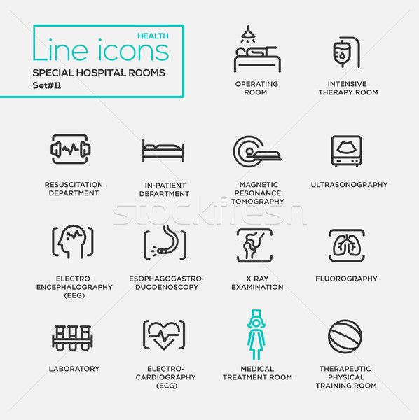 Hospital special rooms - line design pictograms set Stock photo © Decorwithme