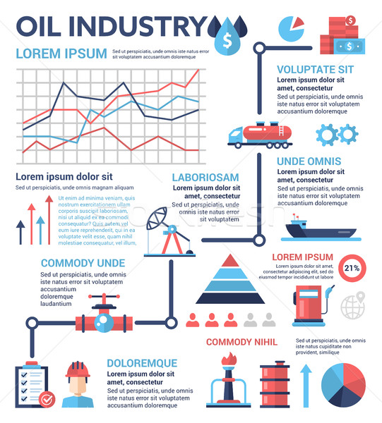 Oil Industry - poster, brochure cover template Stock photo © Decorwithme