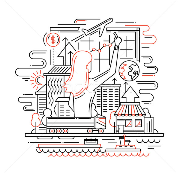Planning Process Line Flat Design Banner With Woman Drawing Diagram