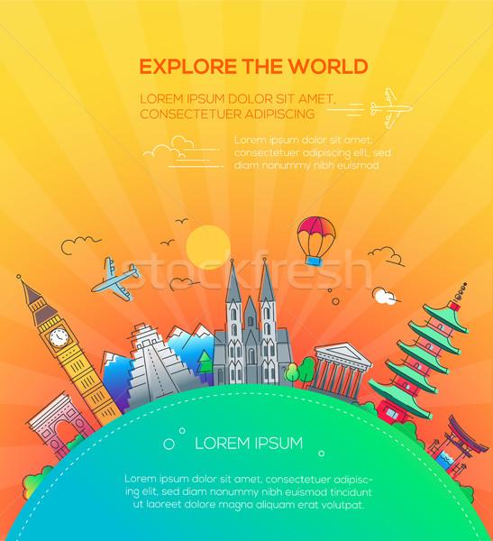 Explore the World - flat design travel composition Stock photo © Decorwithme