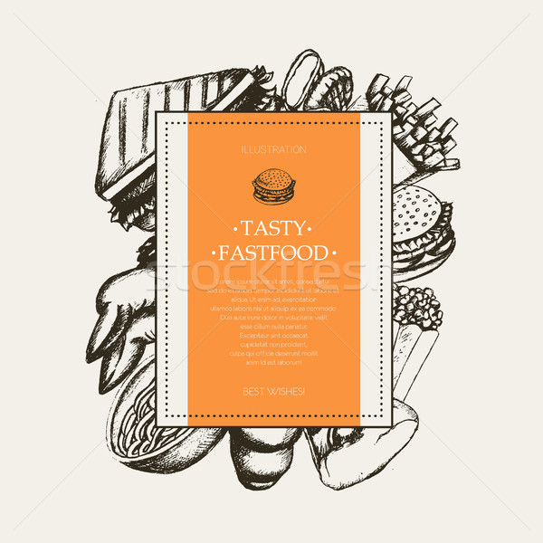 Fast food - modern hand drawn square postcard template. Stock photo © Decorwithme