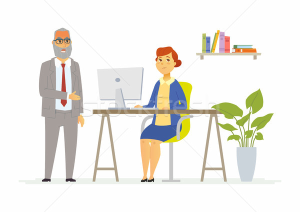Tough talk with boss - modern cartoon people characters illustration Stock photo © Decorwithme