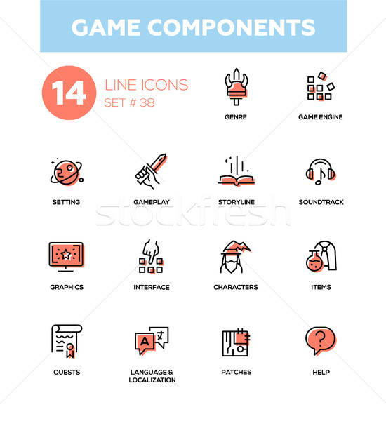 Game Components - modern vector single line icons set Stock photo © Decorwithme