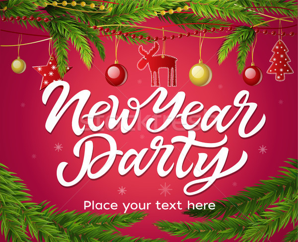 New Year party - modern vector realistic illustration with place for text Stock photo © Decorwithme