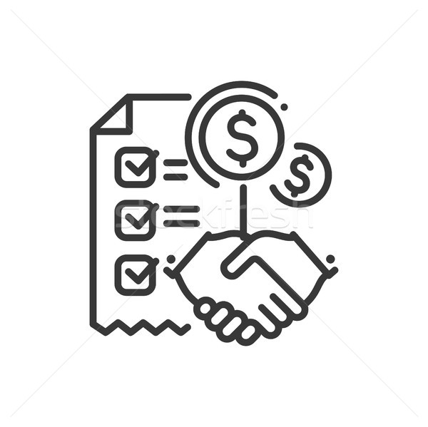 Contract - line design single isolated icon Stock photo © Decorwithme