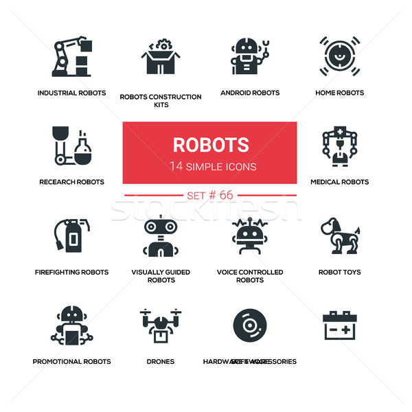 Robots - line design silhouette icons set Stock photo © Decorwithme