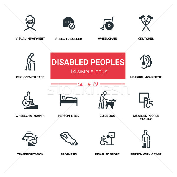 Disabled people - line design silhouette icons set Stock photo © Decorwithme