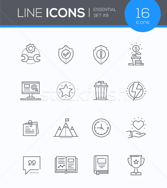 Business concepts - modern line design style icons set Stock photo © Decorwithme