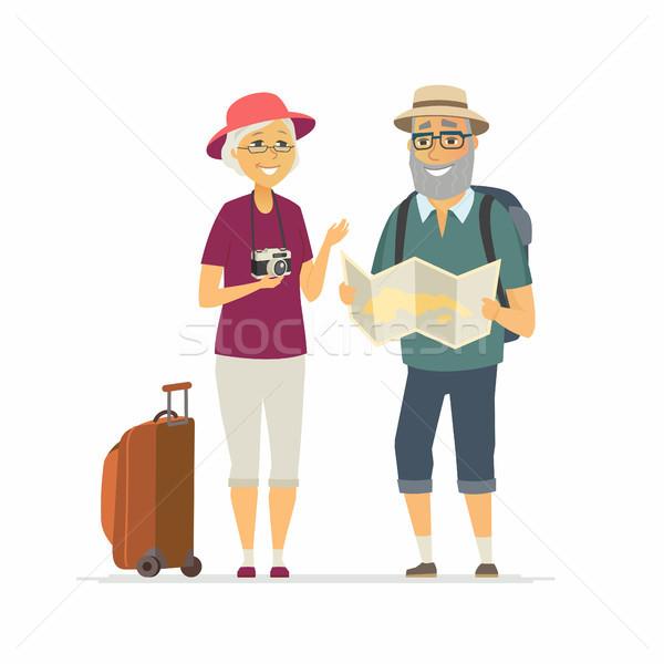 Idős turisták rajzolt emberek karakter izolált illusztráció Stock fotó © Decorwithme