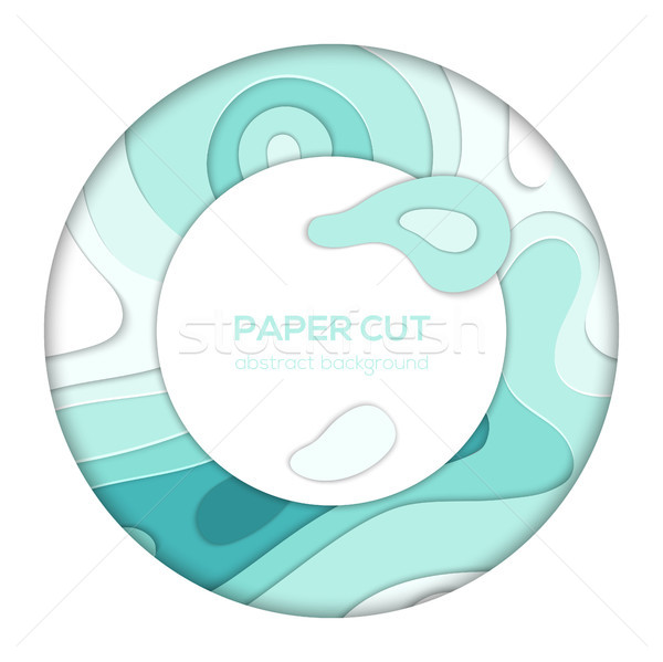 Blue abstract layout - vector paper cut banner Stock photo © Decorwithme