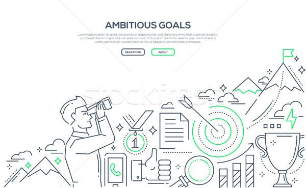 Ambitieus doelen lijn ontwerp stijl illustratie Stockfoto © Decorwithme