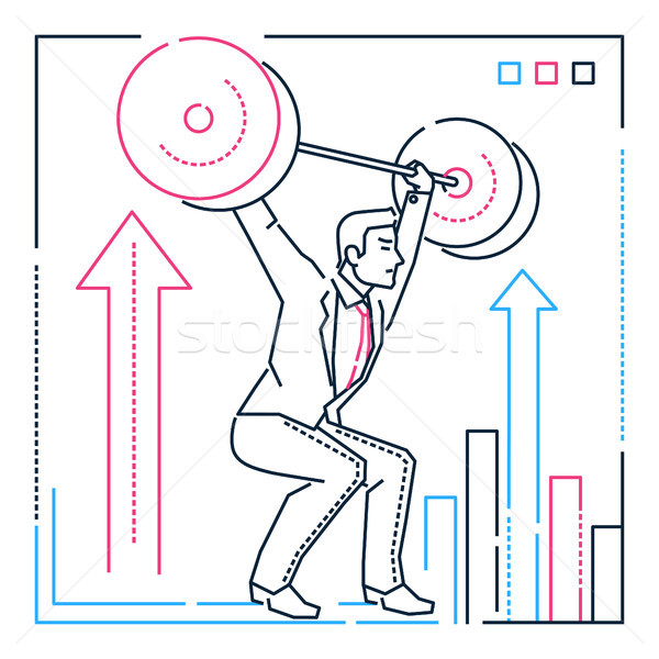 Businessman lifting a heavy bar - line design style illustration Stock photo © Decorwithme