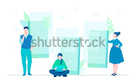 Vivir chat diseno estilo colorido ilustración Foto stock © Decorwithme